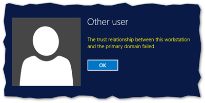 The trust relationshop between this workstation and the primary domain failed.