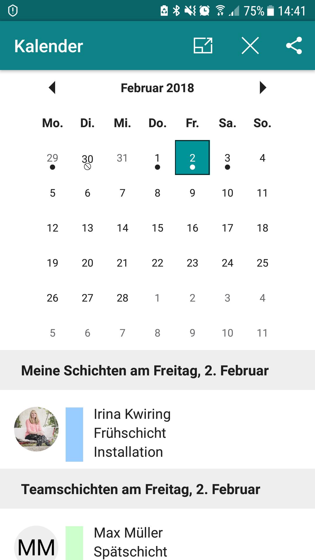 Microsoft StaffHub App - Kalenderansicht