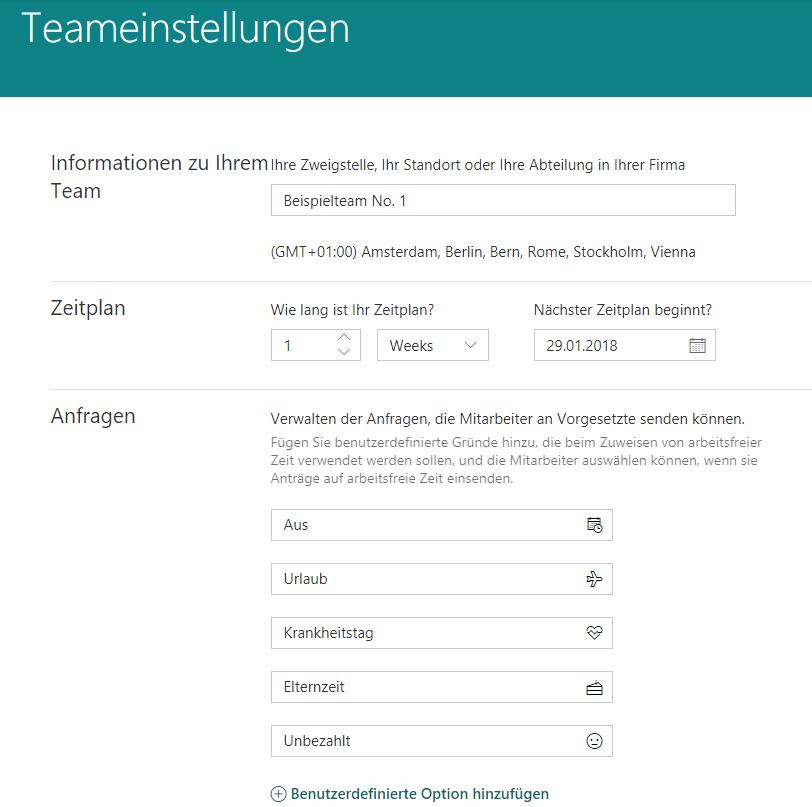 Microsoft StaffHub-Einstellung Team