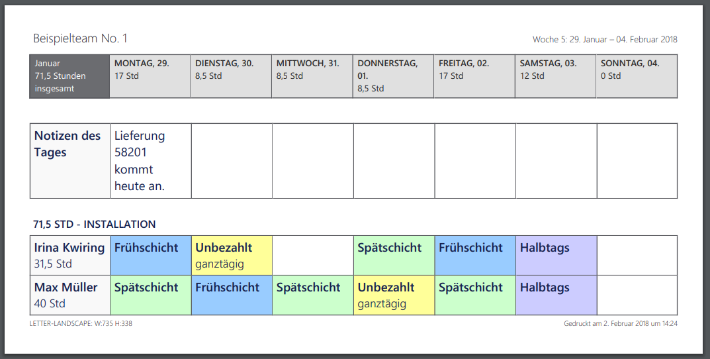 Microsoft StaffHub -PDF Ausdruck