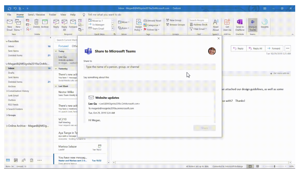 Integration von Microsoft Teams in MS Outlook