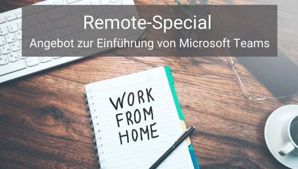 Angebot zur Remote-Arbeit mit Einführung Microsoft Teams