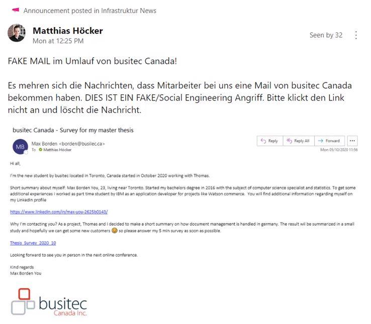 Beispiel für eine Phishing-Mail