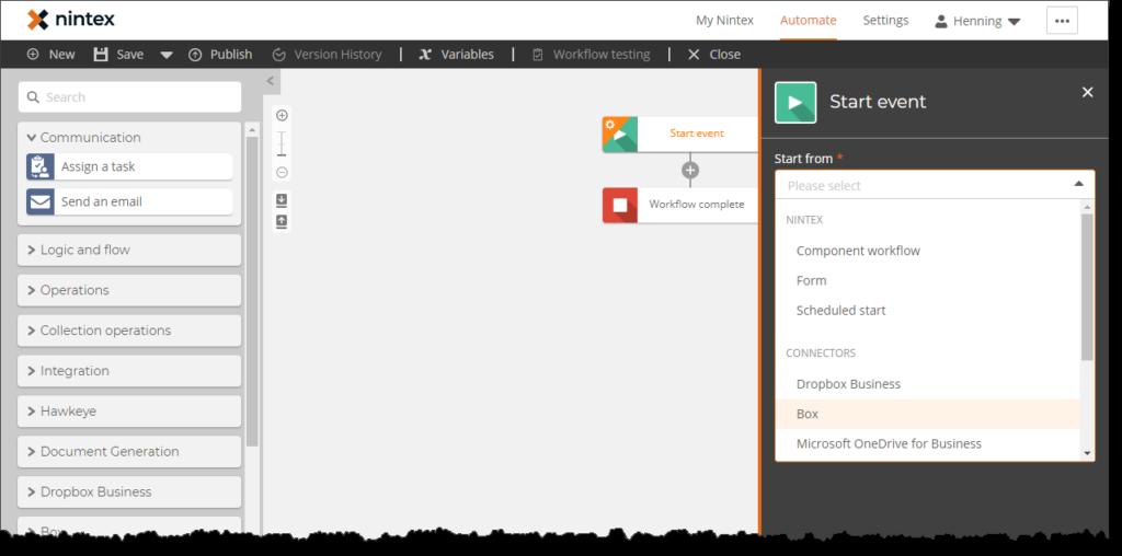 Workflow erstellen mit der Nintex Workflow Cloud