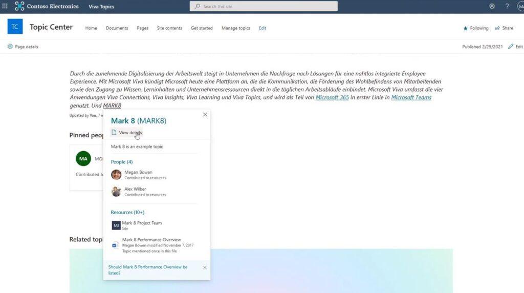 Screenshot Microsoft Viva Topics - Topic mit Inhalten