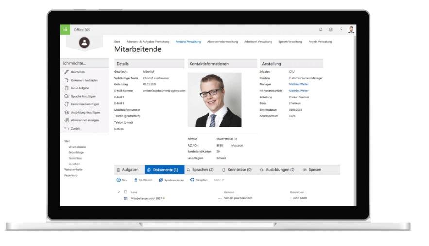 Geschäftsanwendung zur Personalverwaltung und digitale Personalakte selbst erstellen