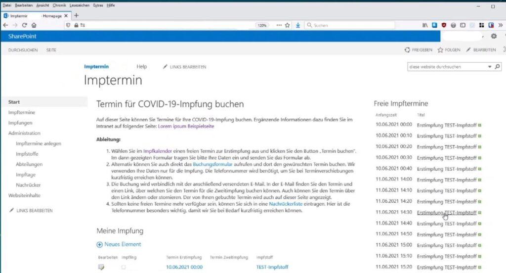 Screenshot einer App-Entwicklung mit Low Code für ein Impftool