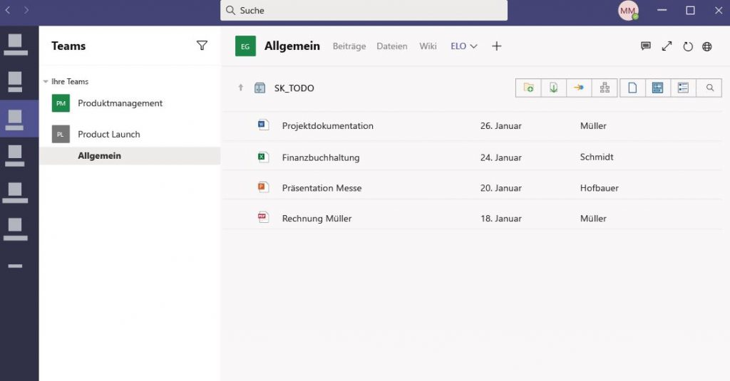ELO-Integration in Microsoft Teams